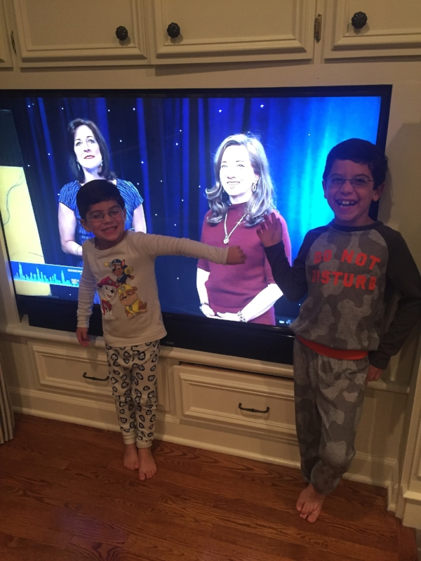 Jeannie's youngest fans watching her WGN News segment live.