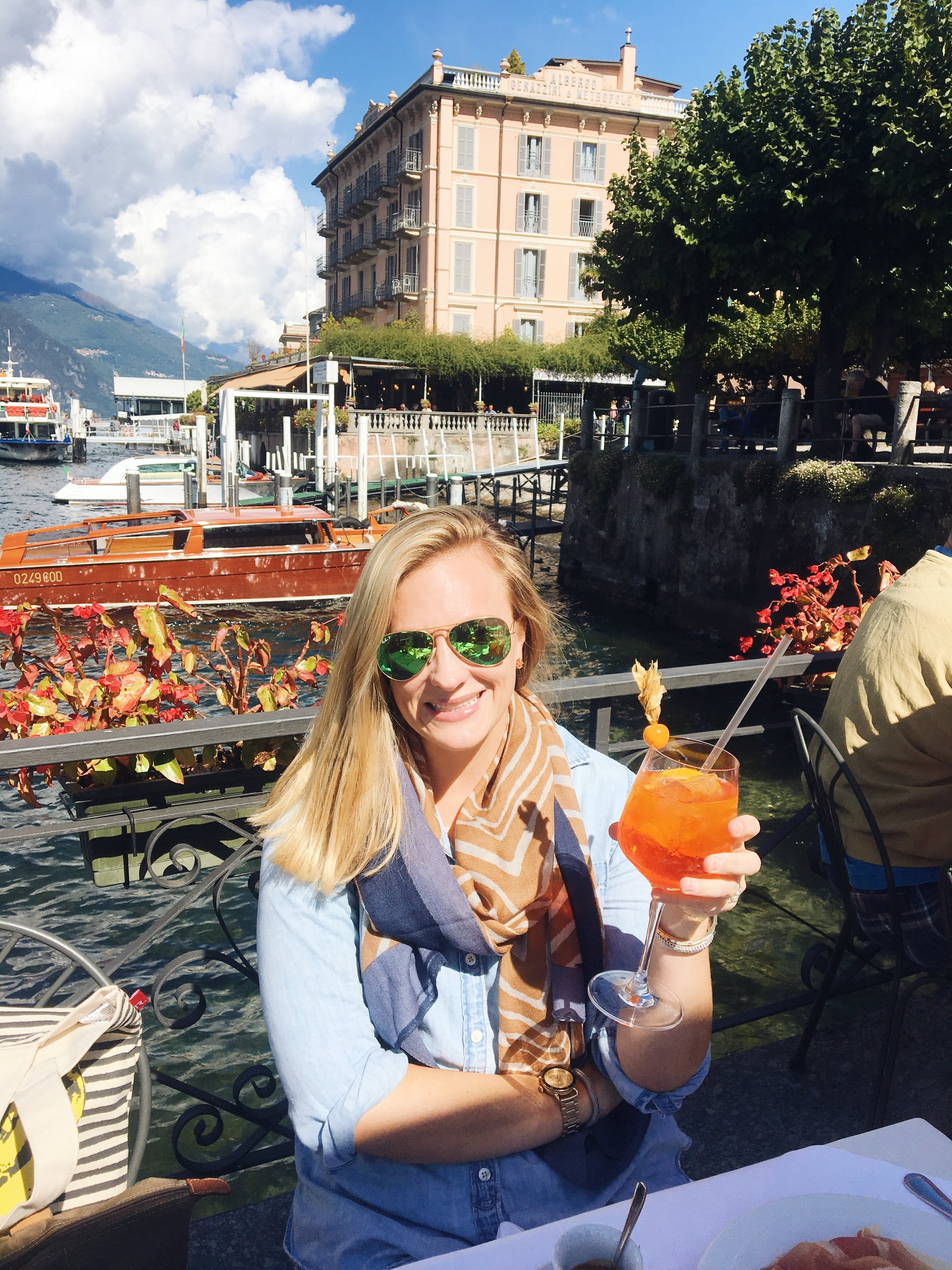 Annie sipping on her favorite - an Aperol spritz - while on her Milan design trip!