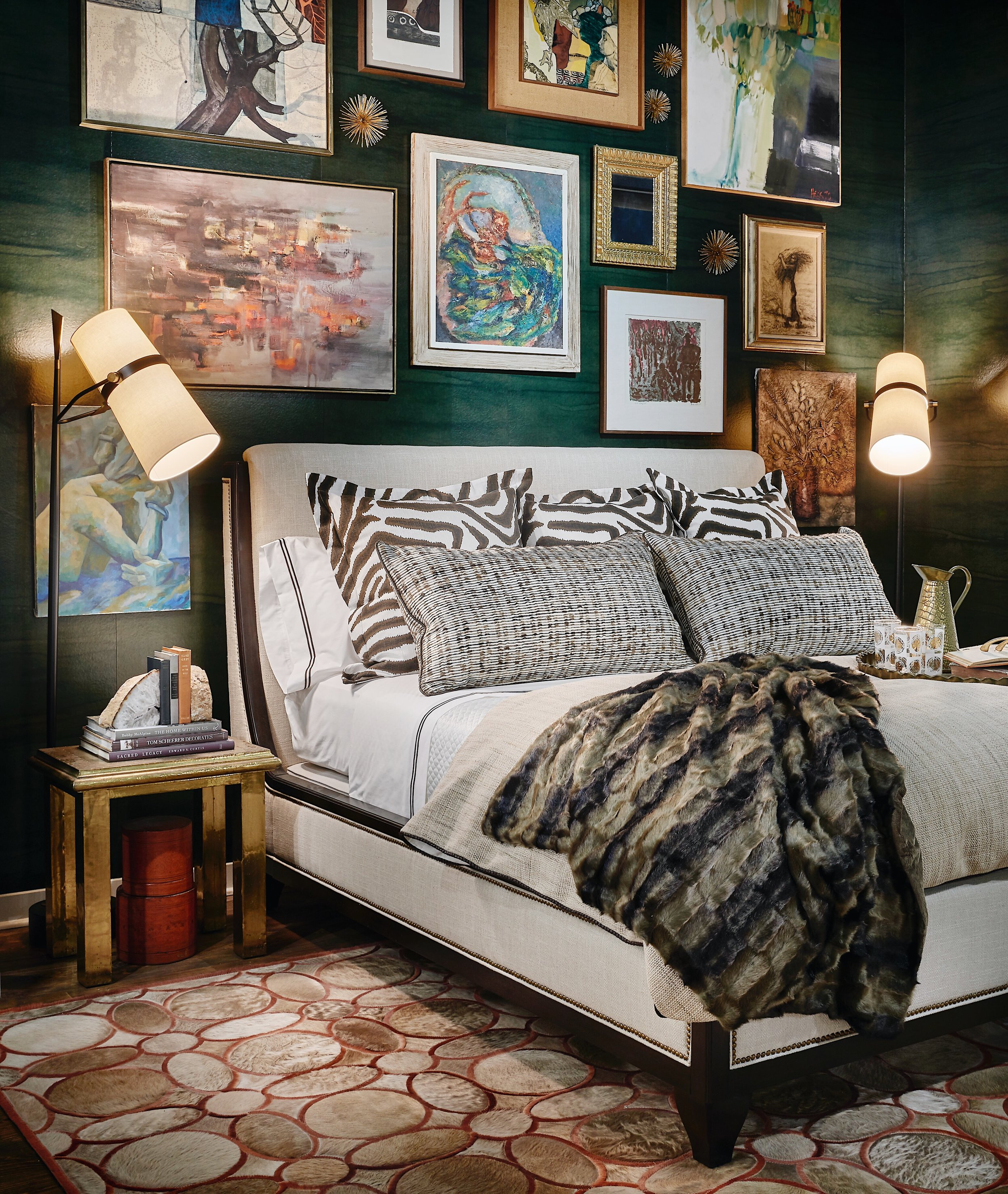 Our bedroom vignette for Dreaming of Design - Special thank you to Chicago Luxury Beds, Maya Romanoff, South Loop Loft, Century Furniture, and Oscar Isberian Rugs!
