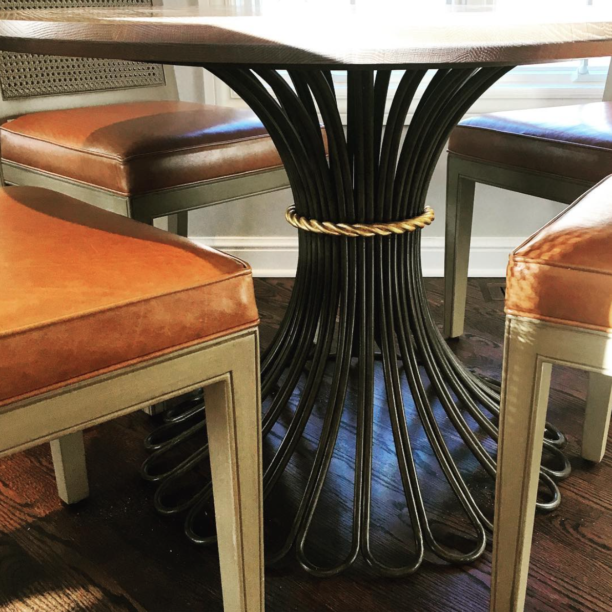 Detail shot of the beautiful Bunny Williams table we selected for a client's Family Room.