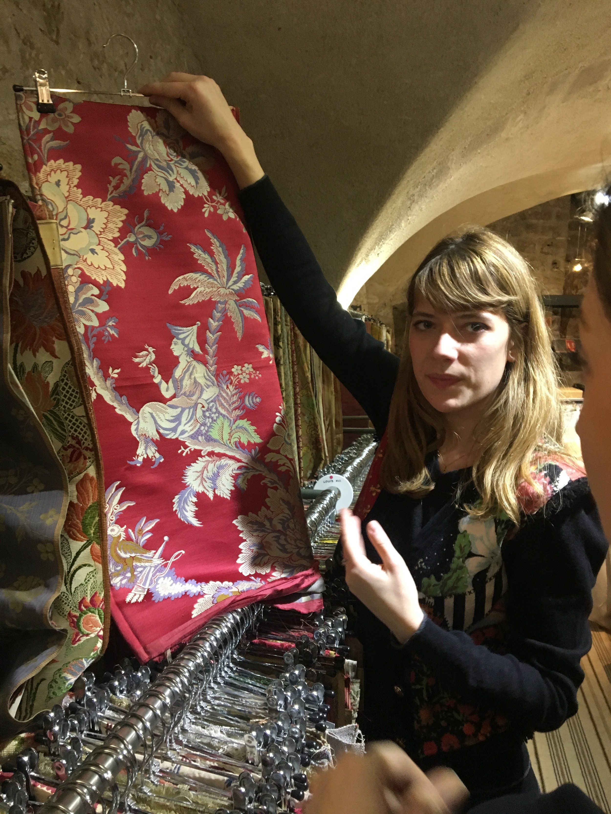 """Paris Deco Off:A magical moment - Here we're down in a Parisian """"cave,"""" which is home to all of Pierre Frey's famously archived prints."""