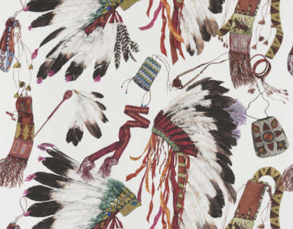 "Pierre Frey's ""Grand Canyon"" fabric, which gives tribute to the opulent and majestic headdresses of Native American tribal chiefs."