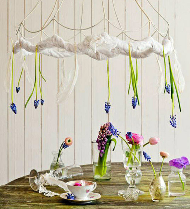I love this playful oversized lampshade with the bluebells suspended over the table.