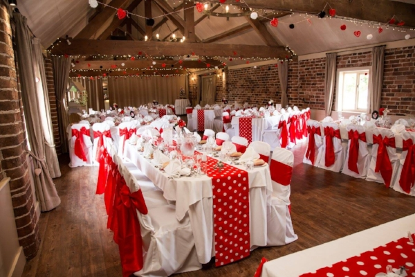 Red, white and black wedding theme