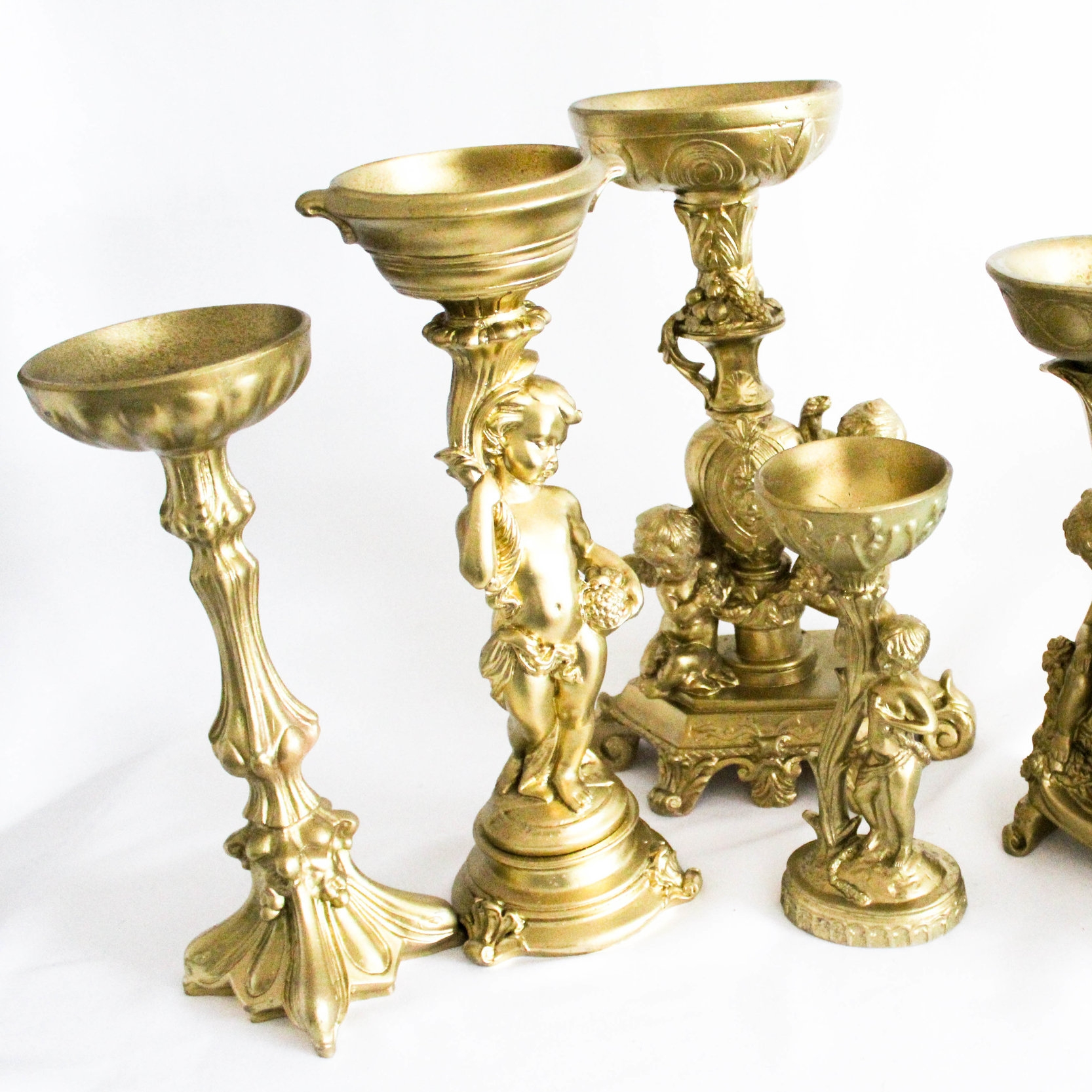 Ornate Gold Candlesticks - Add a bit of interest with these unique pieces. Great to add that historic look to your venue.