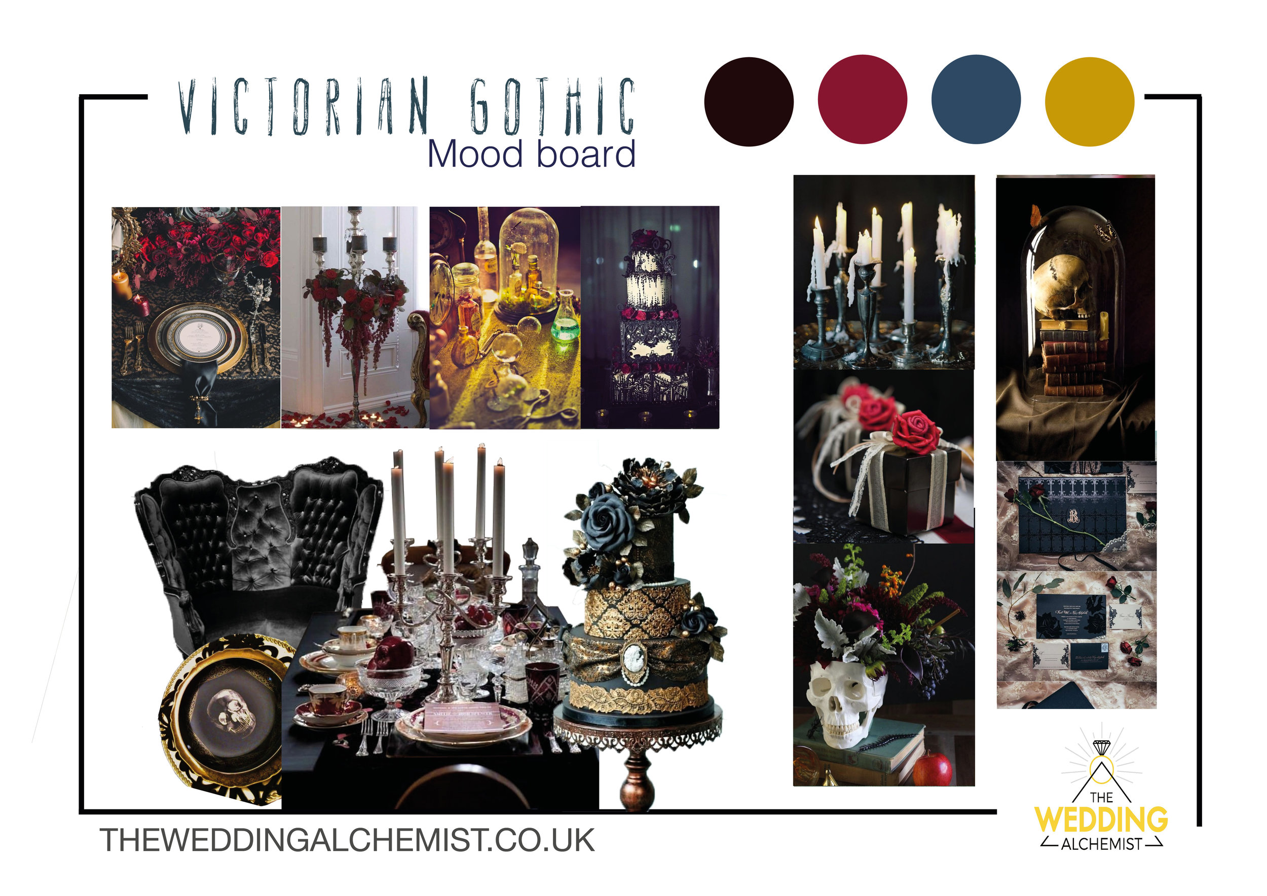 Victorian Gothic Weddings - A dark, moody yet luxe style with layering of beautiful decorative elements.