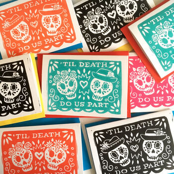 Same Sex Couple Day Of The Dead Wedding Card by  Woah There Pickle