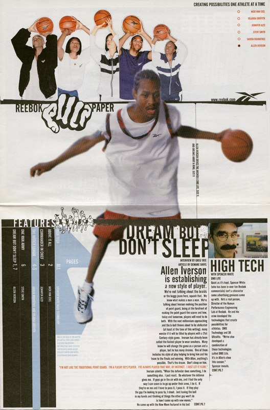 Selected pages from a newspaper magazinecreated for Reebok.  Agency: The Heat -spin-off of Heater Advertising I owned & operated with-  Art Director:  Khari Streeter
