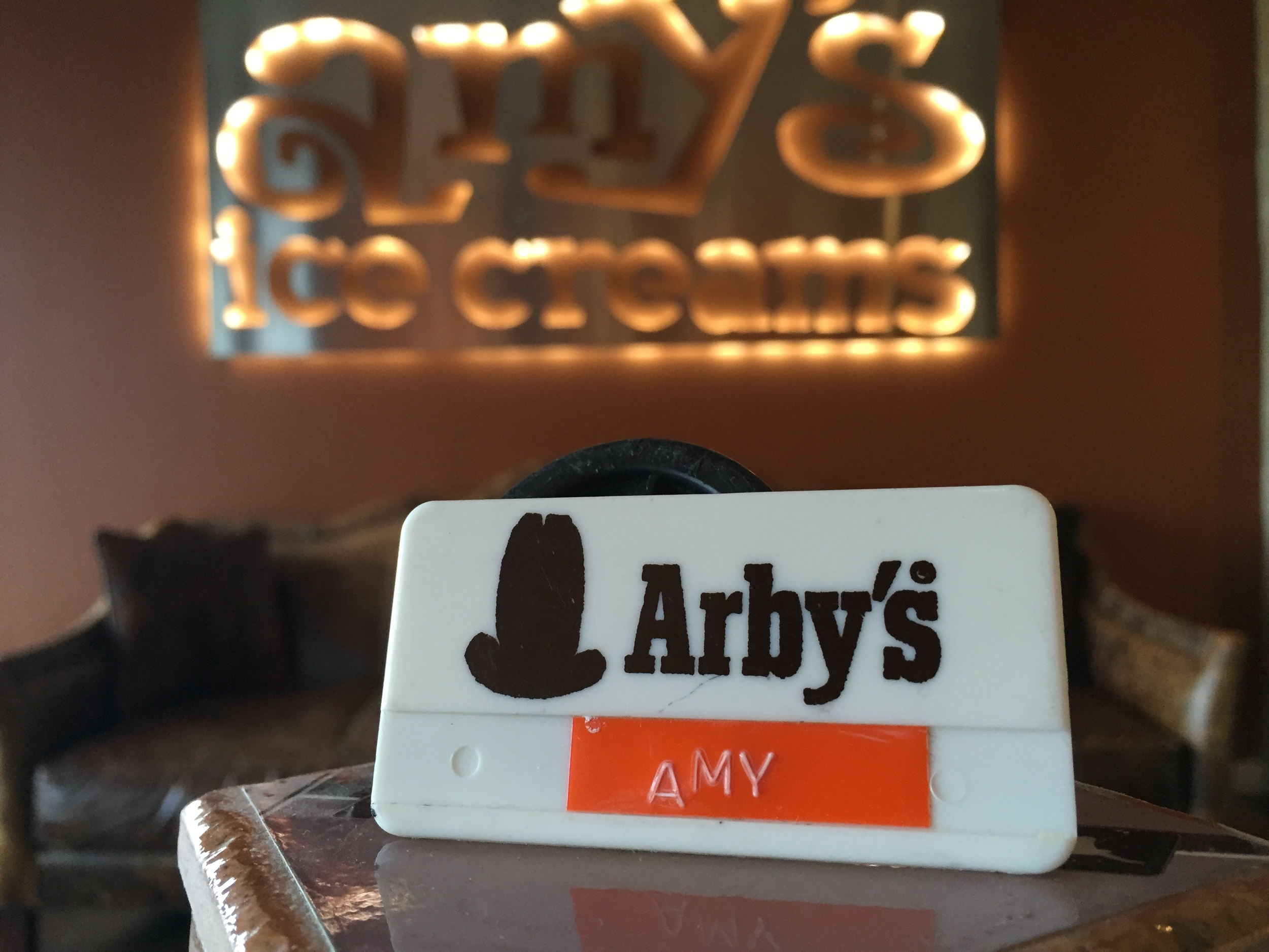 Amy's old name tag from her first job at Arby's