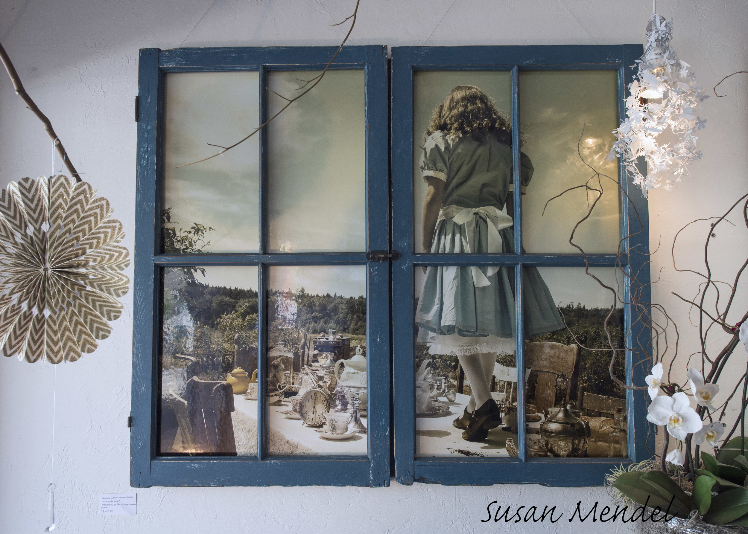 """Waiting For Alice series     Curious Steps  Image framed in vintage windows 39""""x39"""" $1425"""