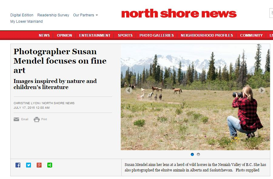 North Shore News July 17, 2015.  Feature article on my 2 exhibitions currently running in North Vancouver galleries.