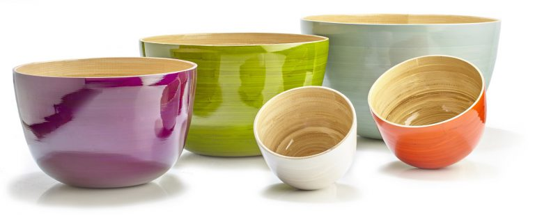 The colorful line of glazed bamboo bowls from Albert L Punkt are a gorgeous addition to your kitchen and dining space.