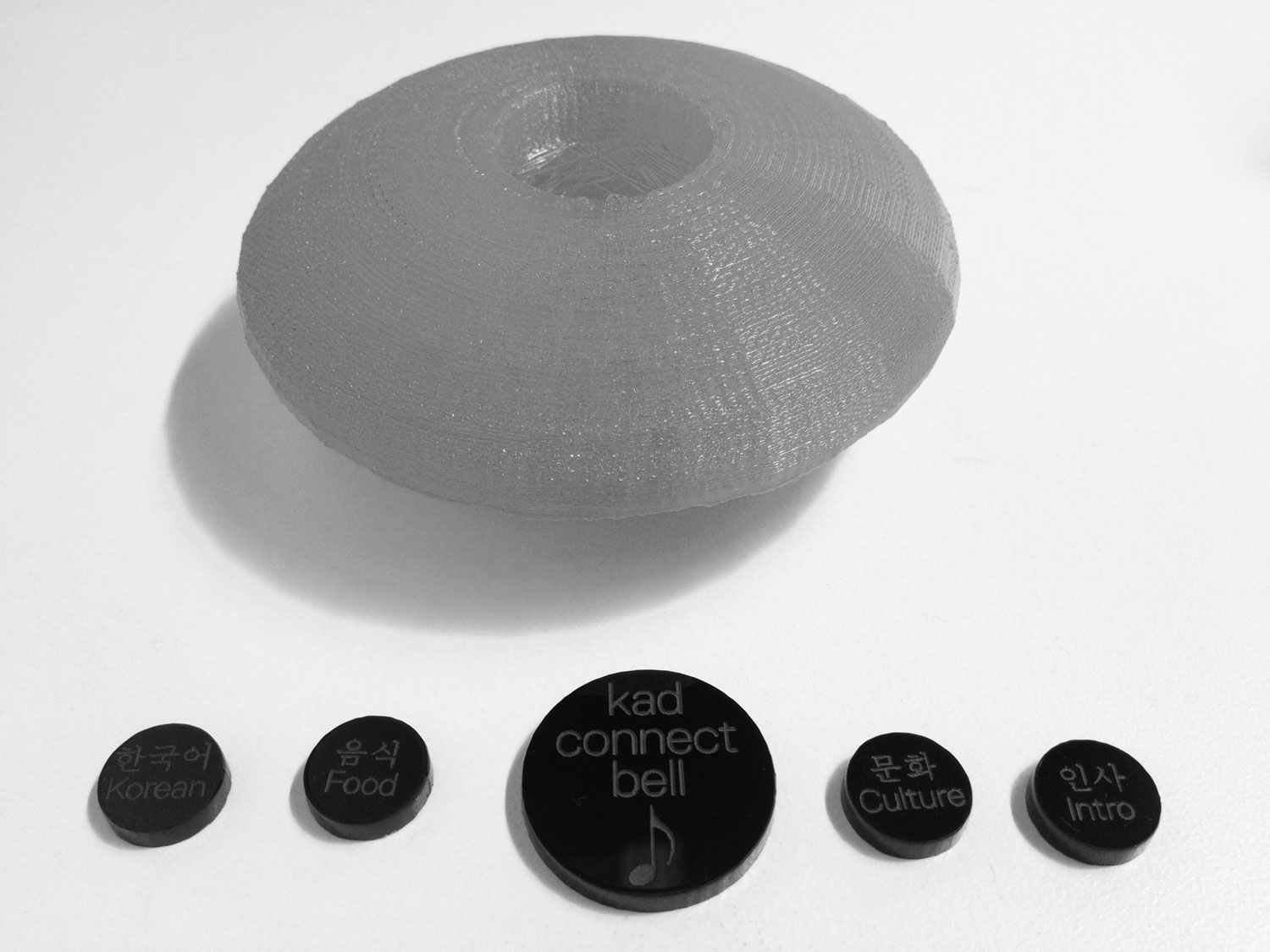 Laser-cut buttons show topics ranging from immediate questions to individual histories.