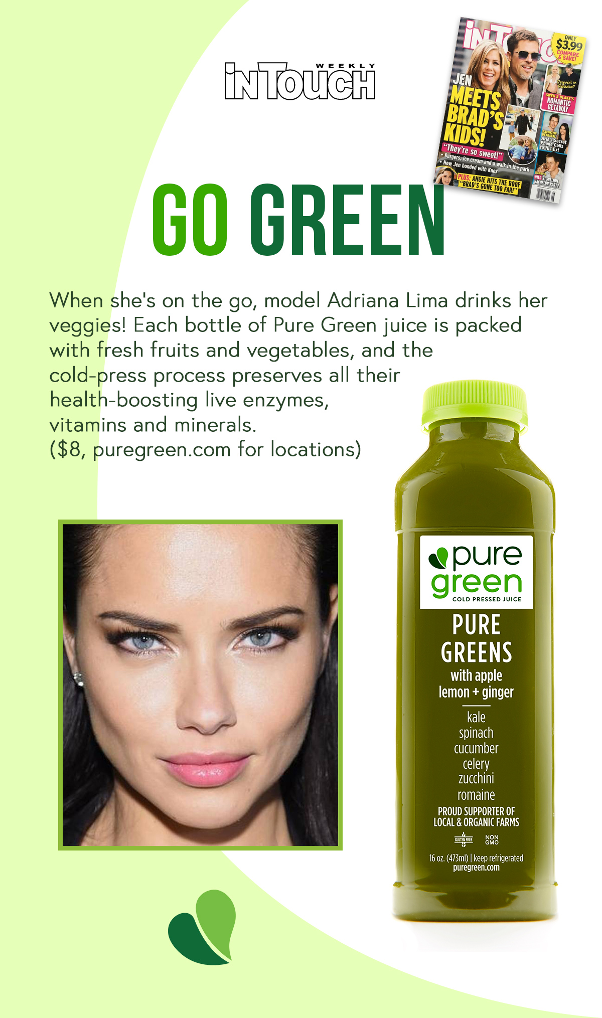 Adriana Lima drinks Pure Green Cold Pressed Juicejpg