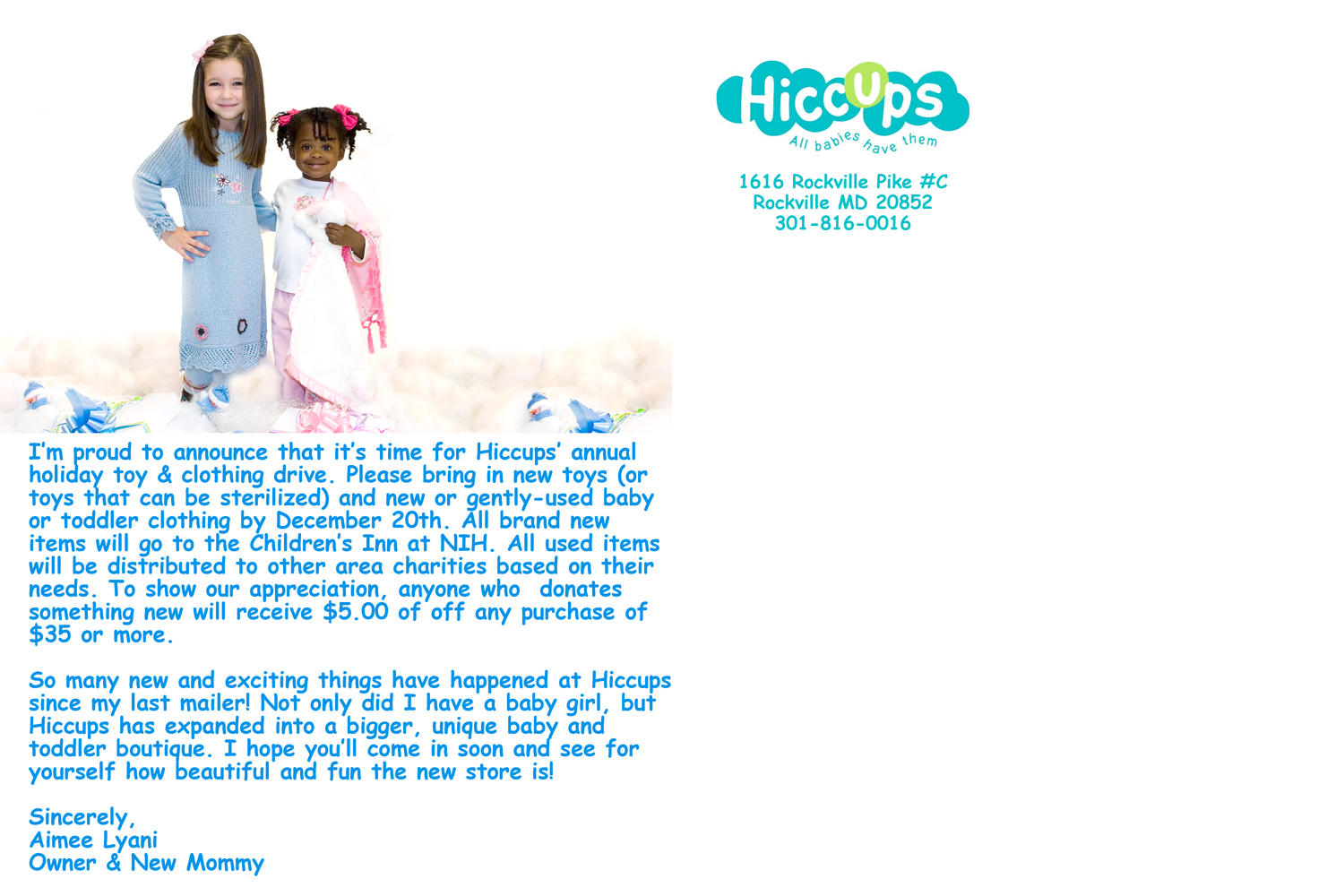 Hiccups Baby Boutique Marketing Postcard