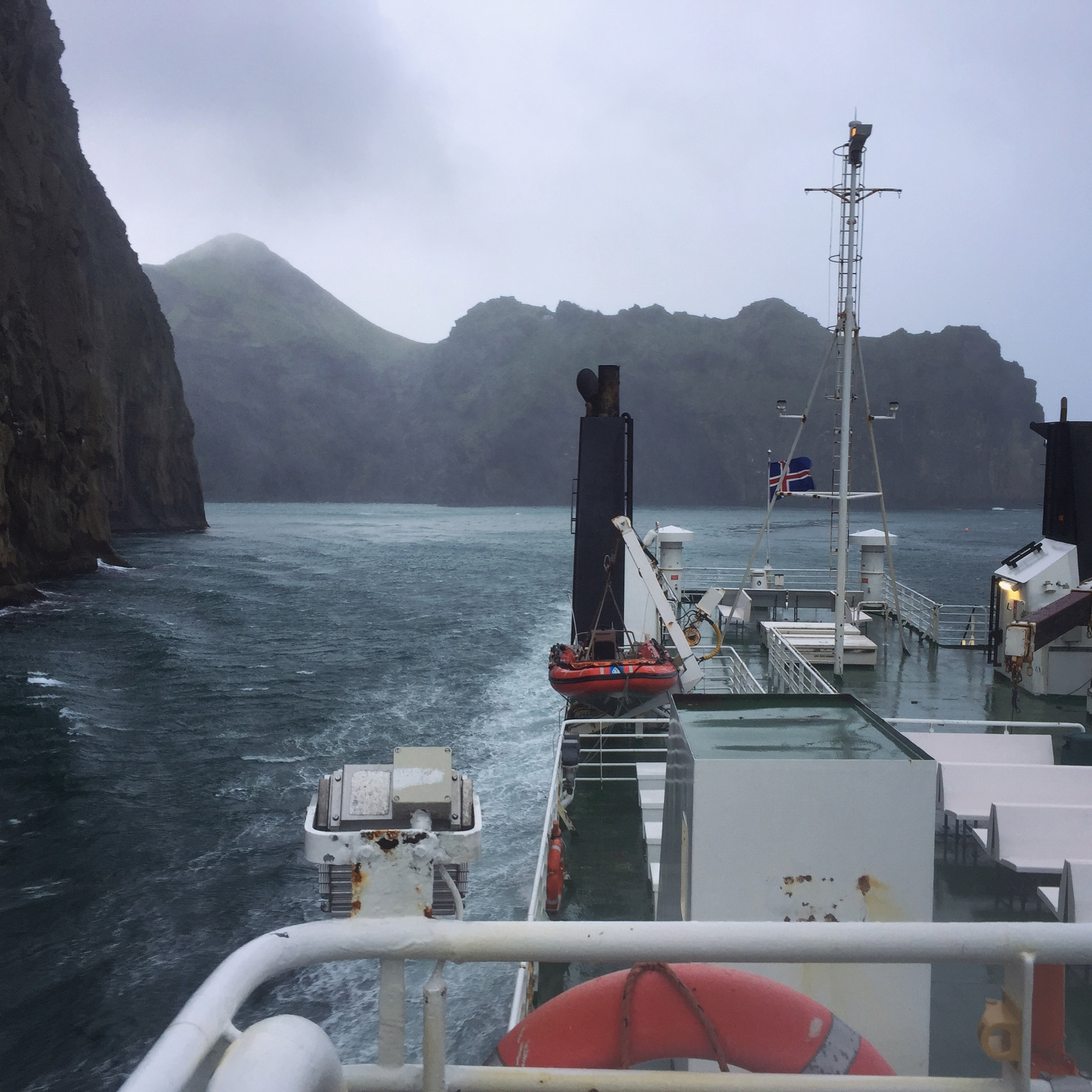pulling into the harbor at Vestmannaeyjar off the southern coast of Iceland