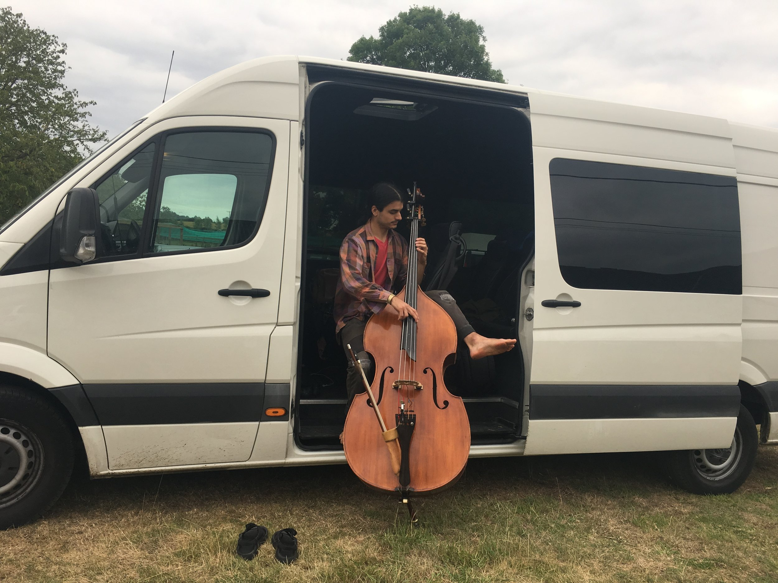 in the tour van at the Maverick Festival - Easton, England - photo by Sierra Hull