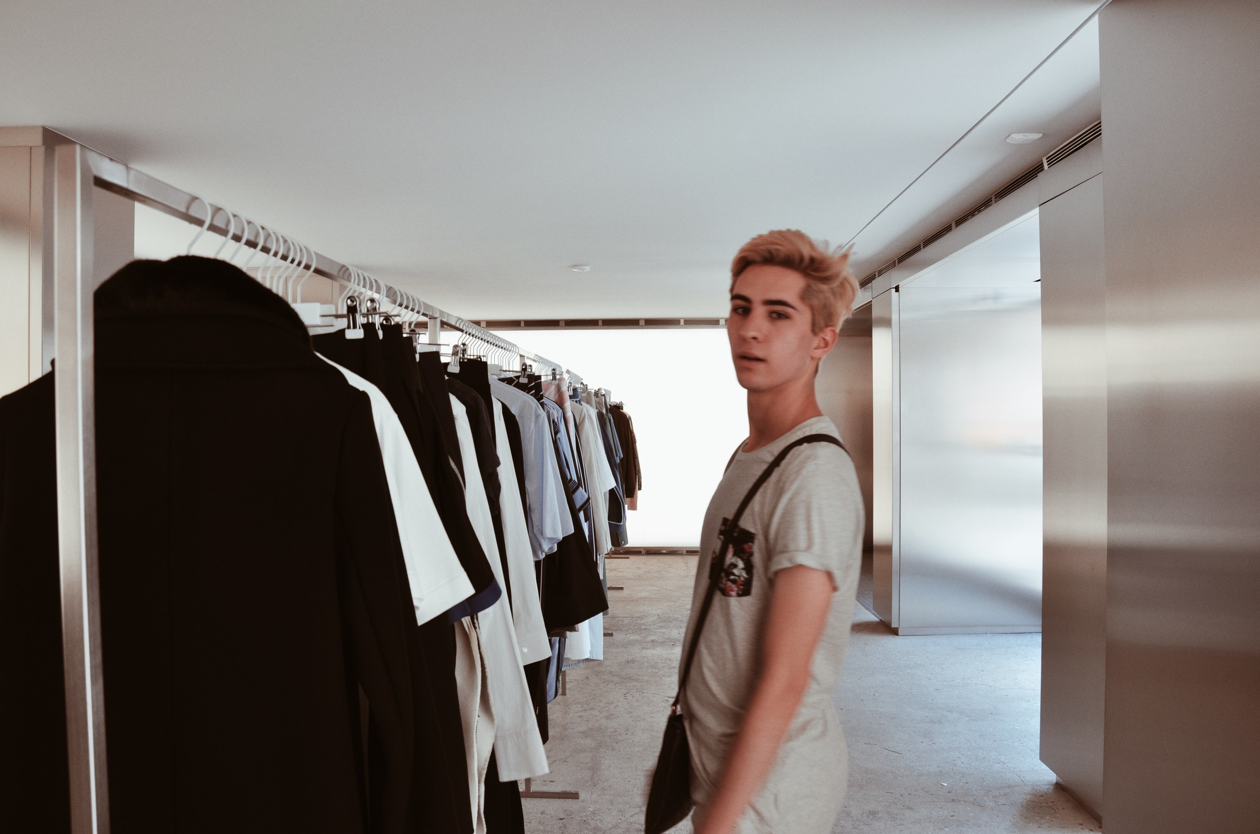 Shopping in Acne Studios on Horatio Street in the Meatpacking District (NYC).