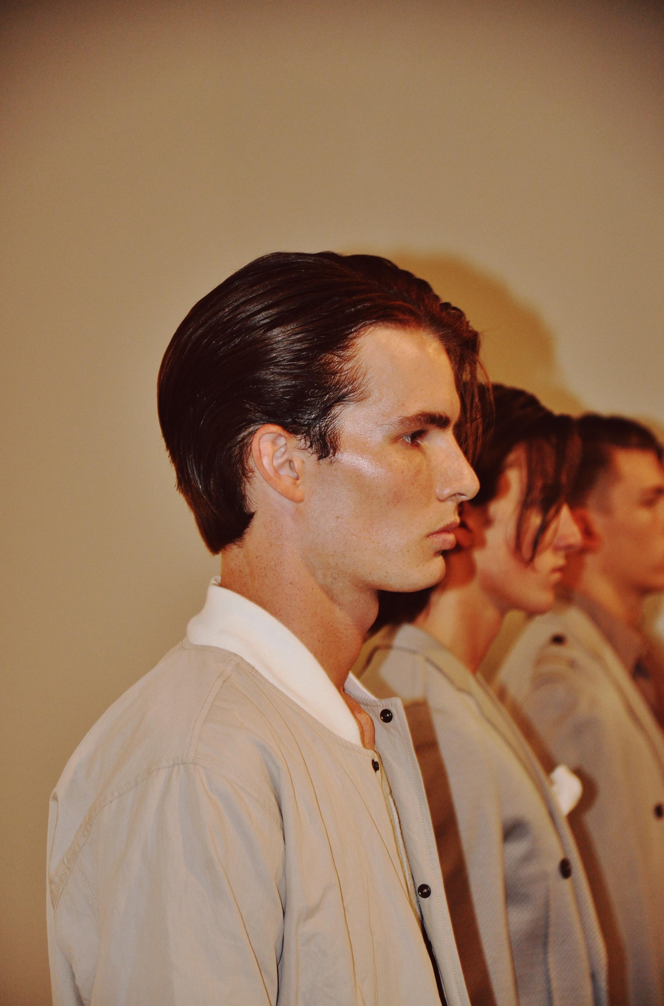Slicked-back hair vibe at the Loris Diran SS17 presentation.