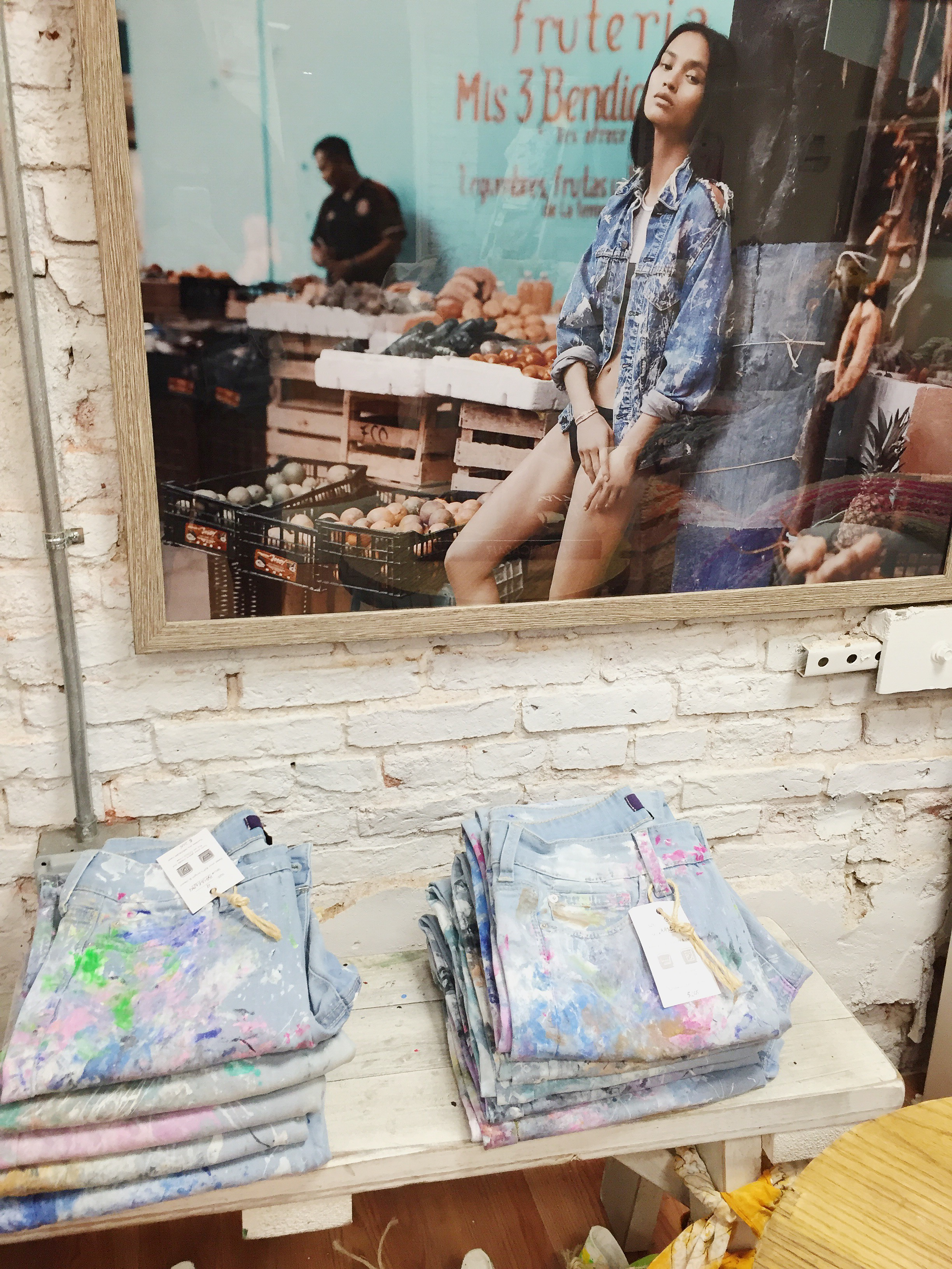 Hand painted jeans at Rialto Jean Project.