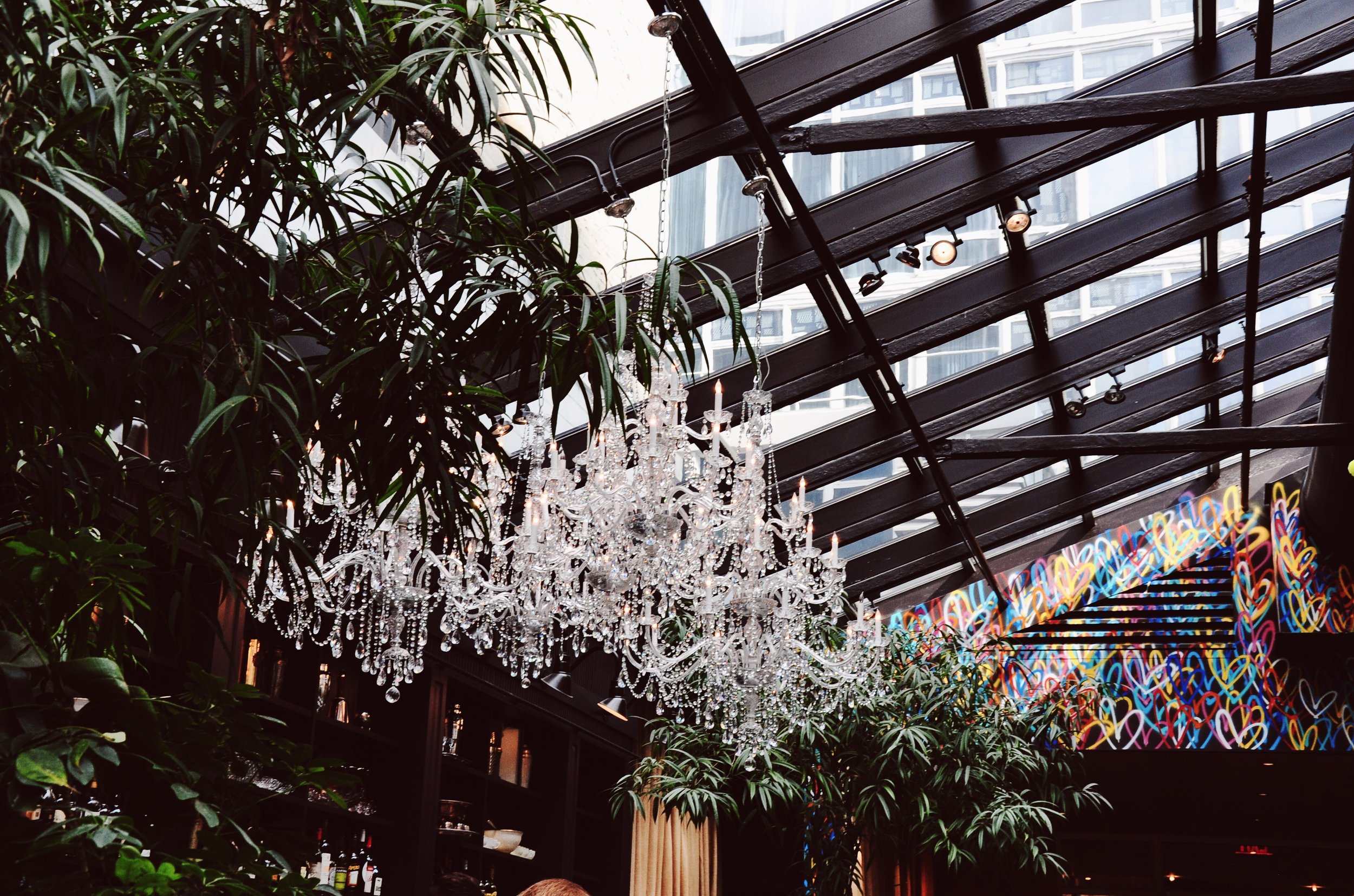 Chandeliers at NoMo Kitchen in SoHo