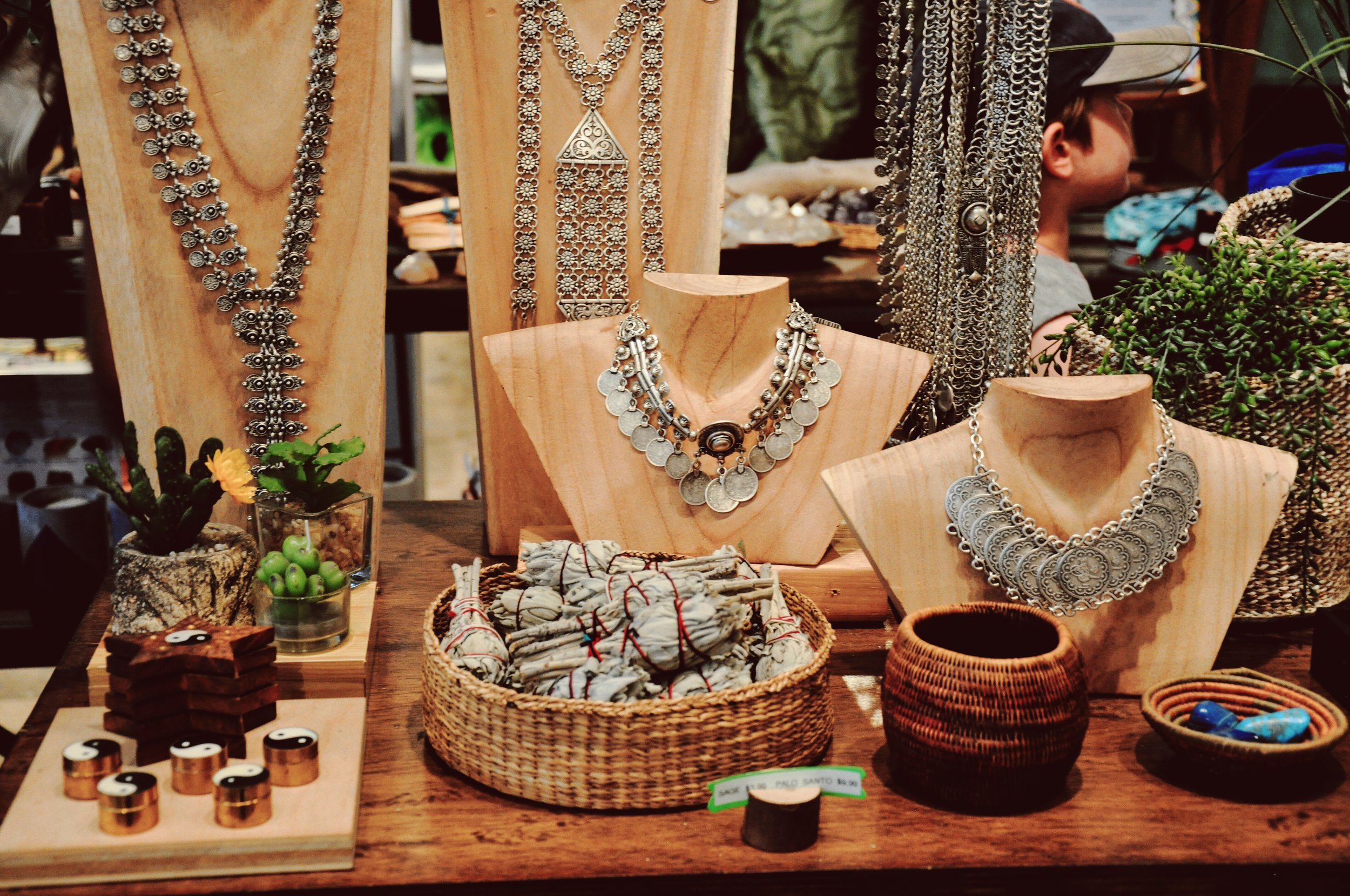 Jewelry, incense, trinkets, and succulents!