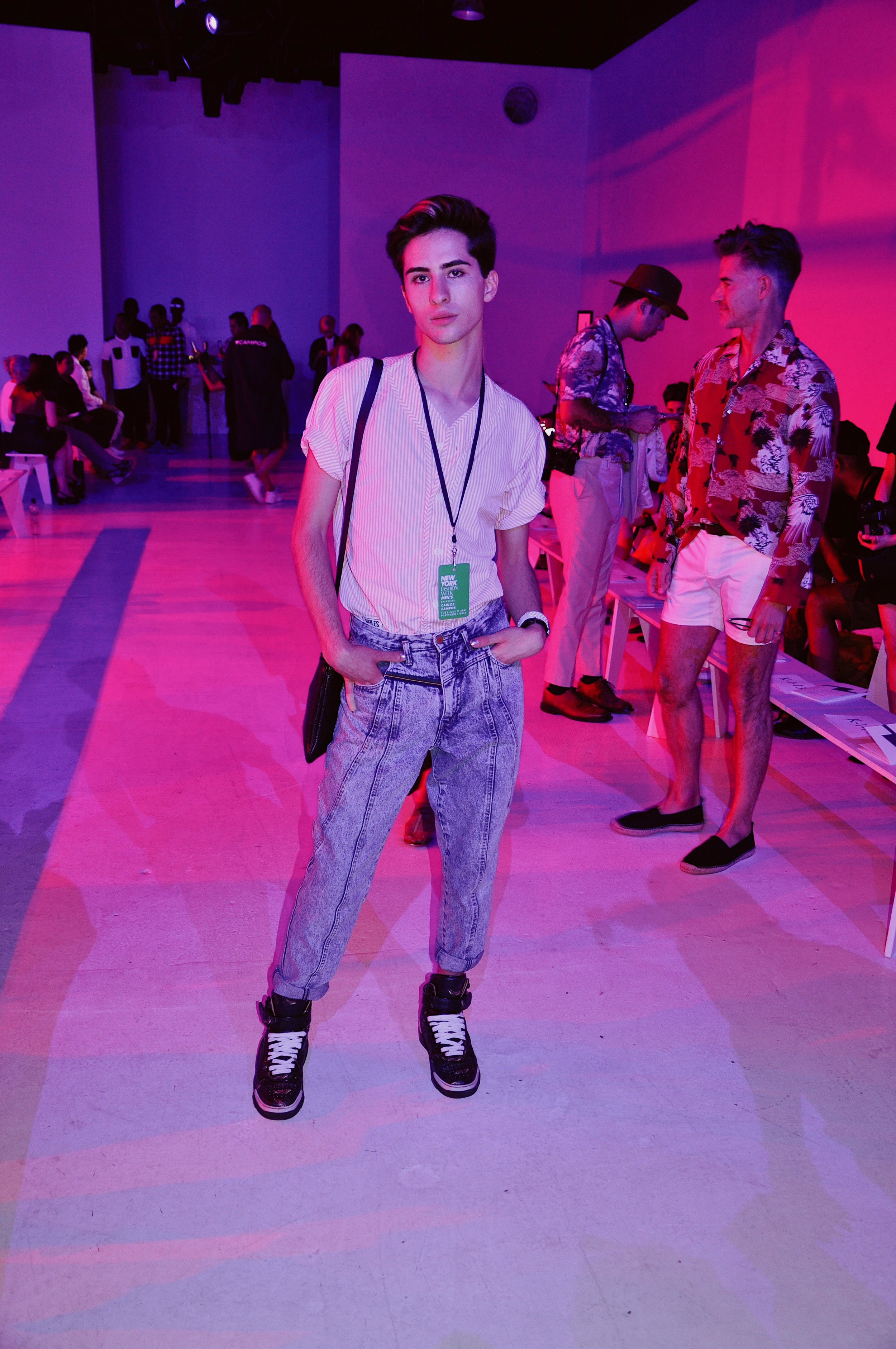 Prior to showtime, sporting my NYFWM Day 2 look.