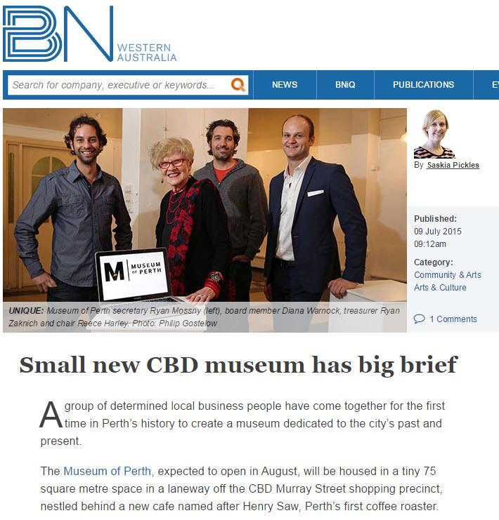"""Small new CBD museum has big brief"" - Business News, 9 July 2015"