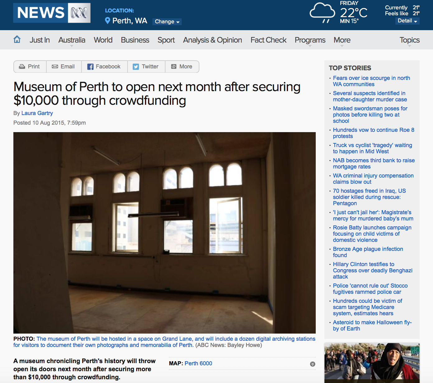 """""""Museum of Perth to open next month after securing $10,000 through crowdfunding"""" - ABC News, 10 August 2015"""