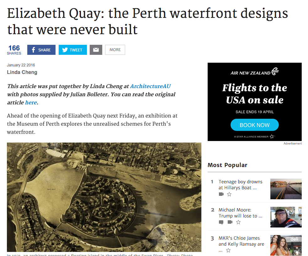 """""""Elizabeth Quay: the Perth waterfront designs that were never built"""" - WA Today, 22nd January 2016"""