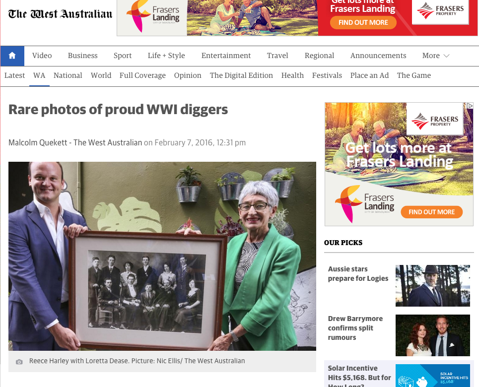 """""""Rare photos of proud WW1 Diggers"""" - The West Australian, 7th February 2016"""