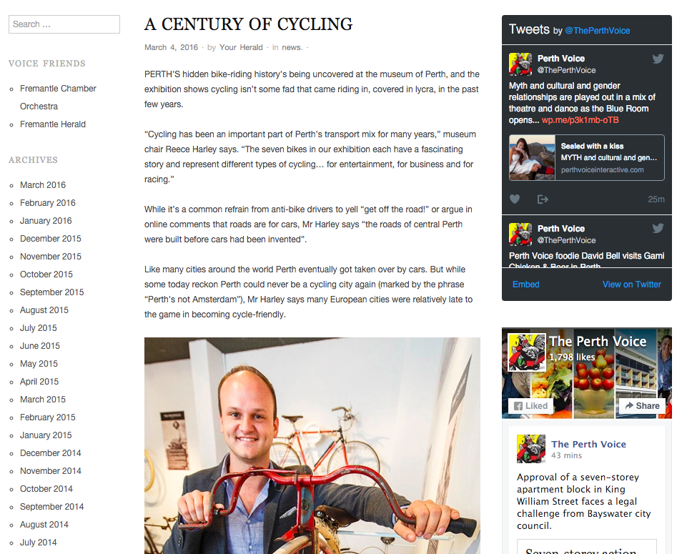 """""""A Century of Cycling"""" - Perth Voice, 4th March 2016"""