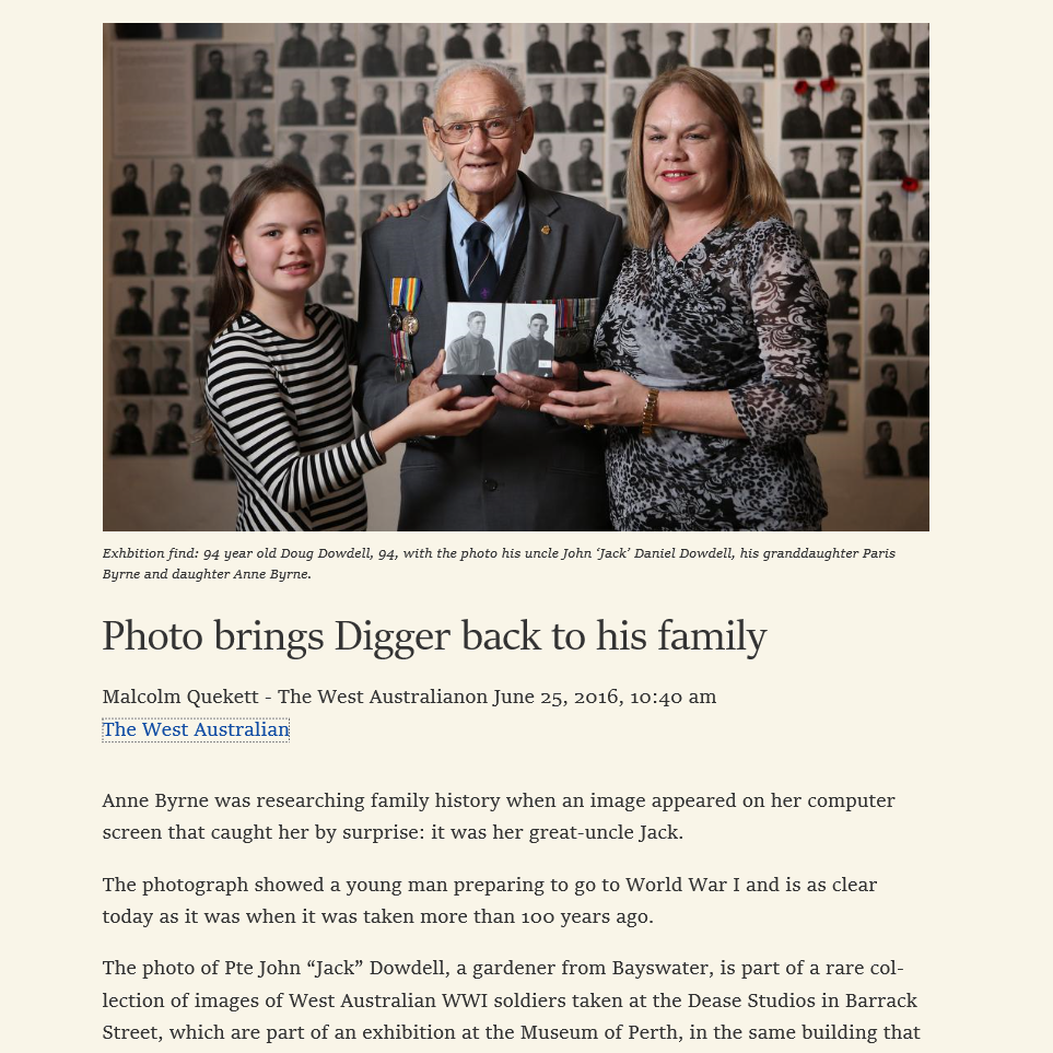 """""""Photo brings Digger back to his family"""" - The West Australian, 25th June 2016"""