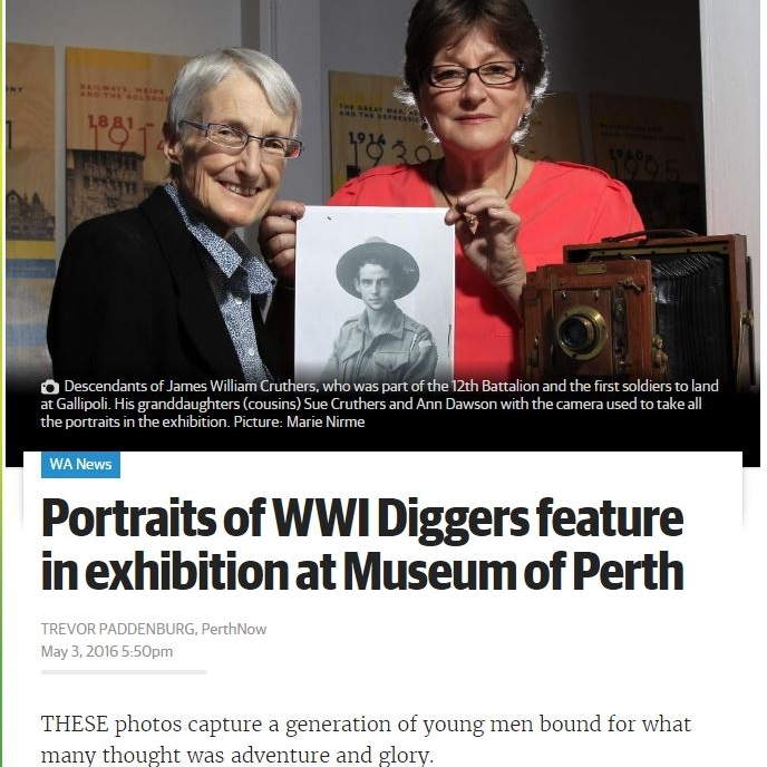 """""""Portraits of WWI Diggers feature in exhibition at Museum of Perth"""" - Perth Now, May 3rd 2016"""