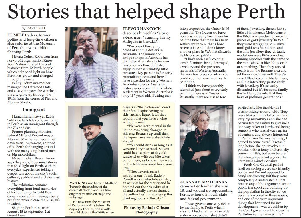 """""""Stories that helped shape Perth"""" - Perth Voice, 18th Aug 2016"""