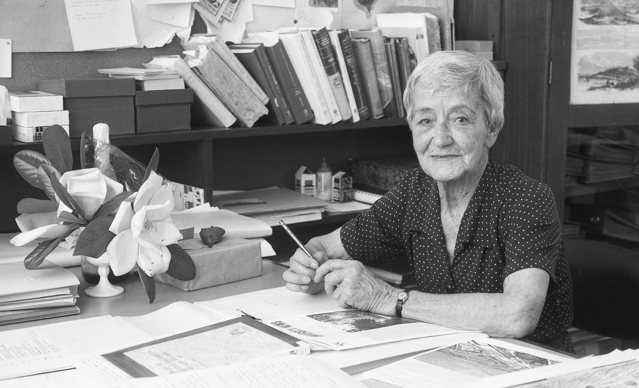 4 December 1980. Miss Margaret Pitt Morison, photographed at work on her 80th birthday at the Dept of Architecture at the University of Western Australia. Picture Courtesy of The West Australian.