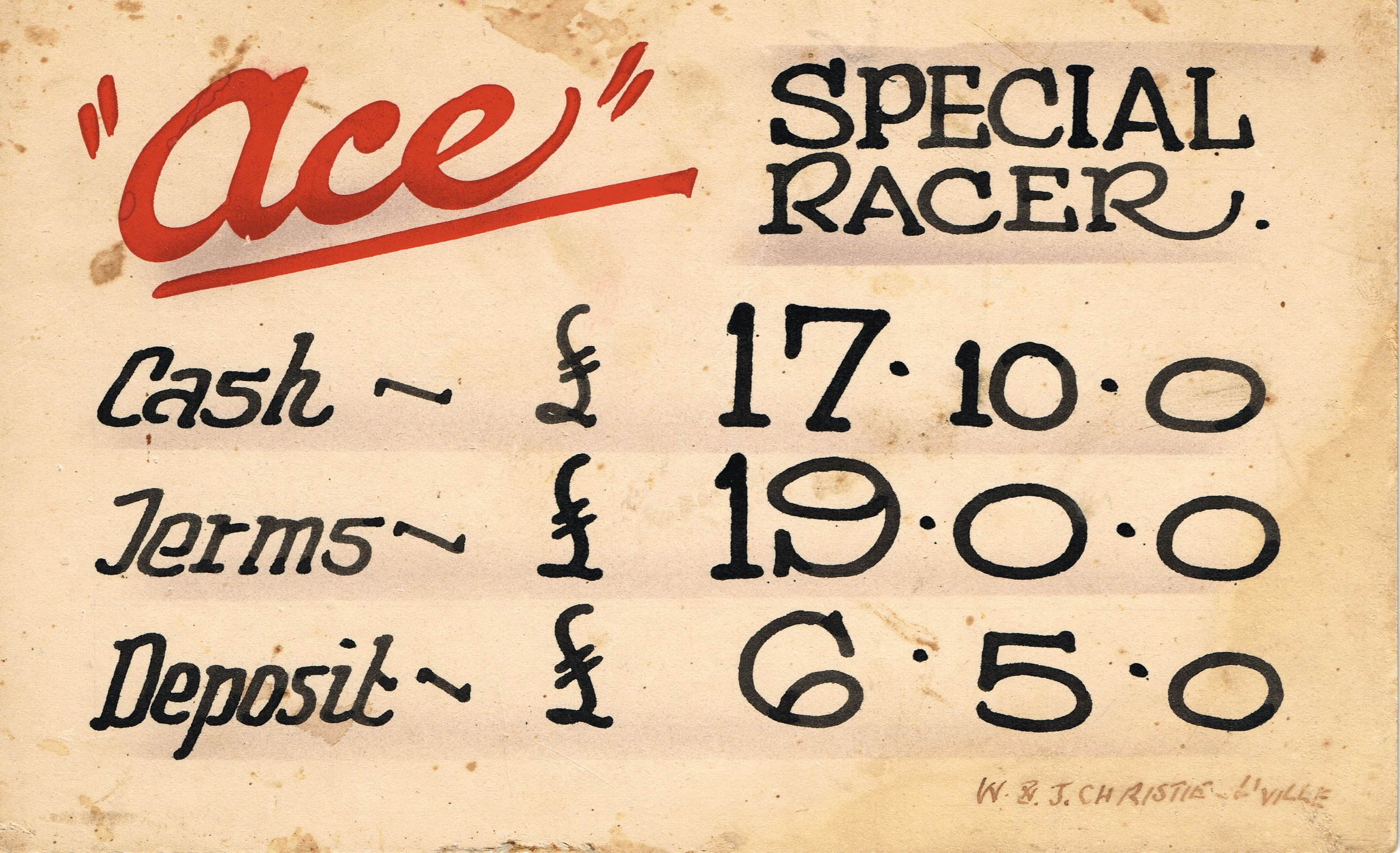 """Ace"" Special Racer   Ace - Signwriter unknown"