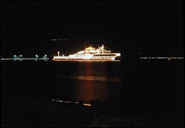 HMAS Swan drawn in lights, Swan Brewery, 1962