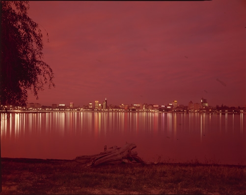 City lights reflected on the Swan River, 1962