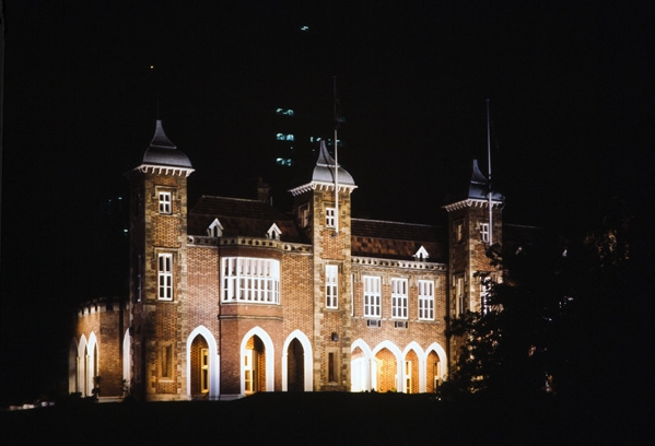 Exterior of Government house at night, 1977
