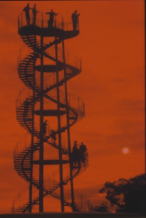People on the DNA Tower in King's Park at dusk, 1966