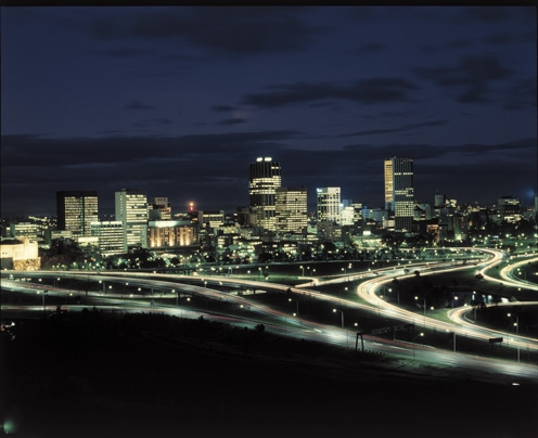 Perth skyline from King's Park at night, with Narrows Interchange, 1977