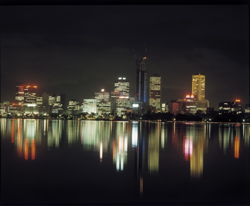 Perth skyline from South Perth at night, 1987