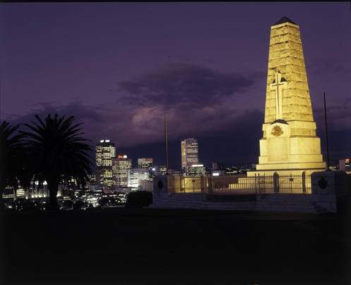 State War Memorial in King's Park and Perth skyline at night, 1985.