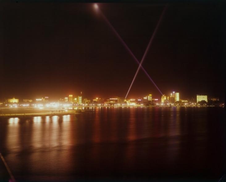 Searchlights over Perth city, 1962