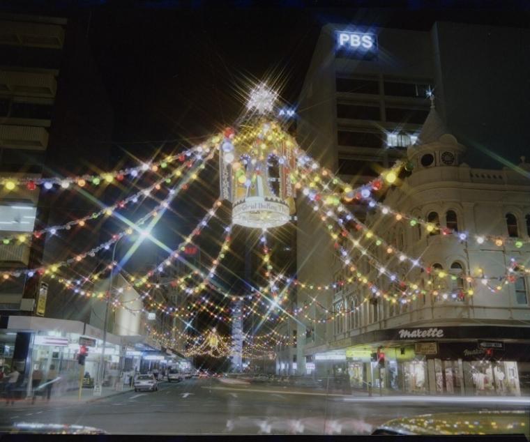 Christmas Lights, corner of William and Murray Streets, 1984