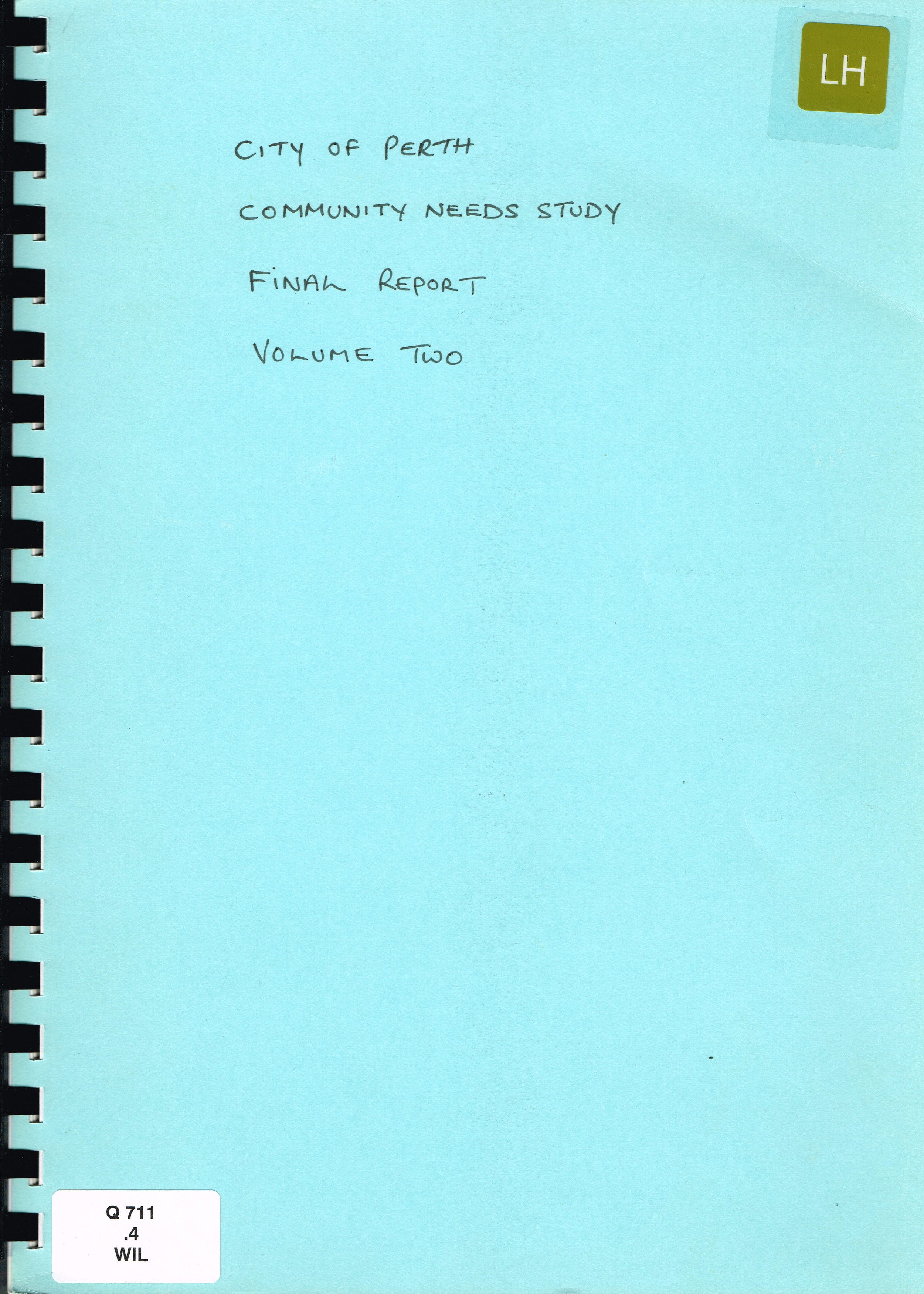 Community Needs Study : Final Report Volume Two  City of Perth