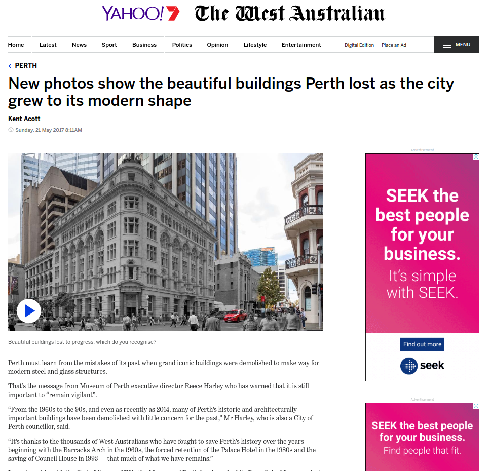 """""""New photos show the beautiful buildings Perth lost as the city grew to its modern shape."""" - The West Australian, 21st May, 2017"""