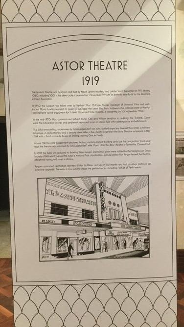 Astor Theatre information display