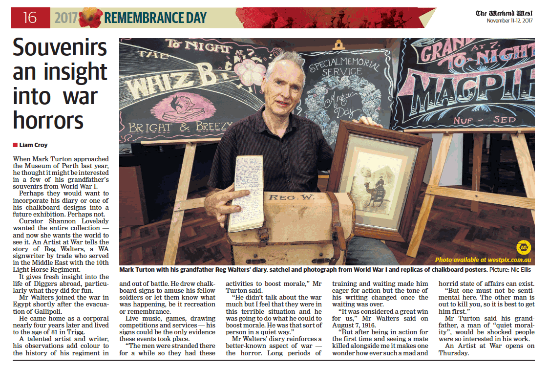 """Souvenirs an insight into war horrors"" - The West Australian, 11 November 2017."